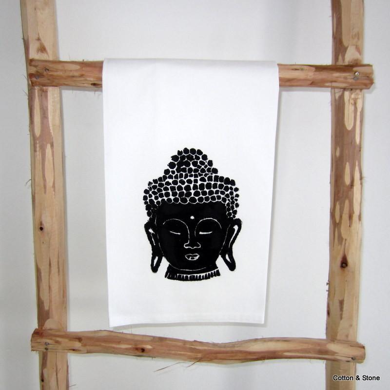 Tea Towel 'Buddha head' black