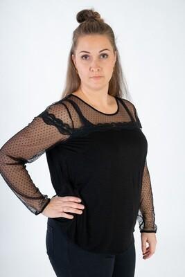Kollektionsprøve - Elegant bluse med blonde foroven og på ærmerne fra Zoey
