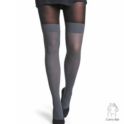 Flotte strømpebukser med rib overknee-look fra Decoy!