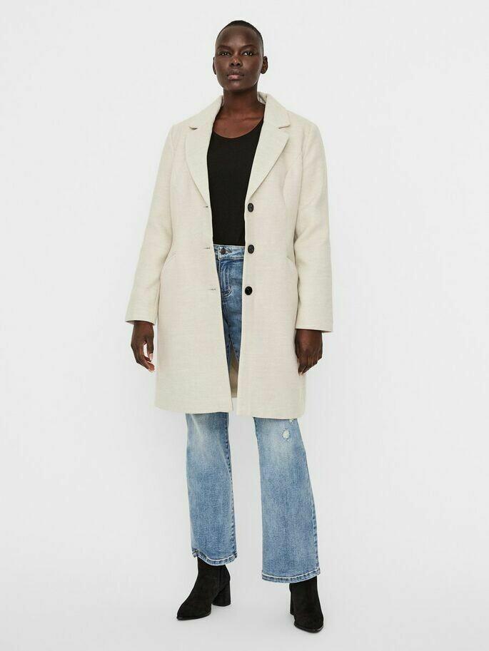 Lang frakke med reverskrave fra Vero Moda Curve!