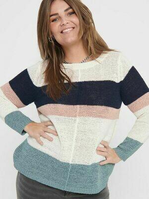 Sød stribet strik pullover fra Carmakoma