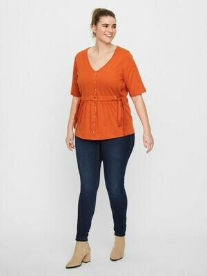 Orange bluse fra Junarose.