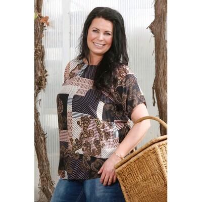 Bluse i patchwork-print fra Zoey