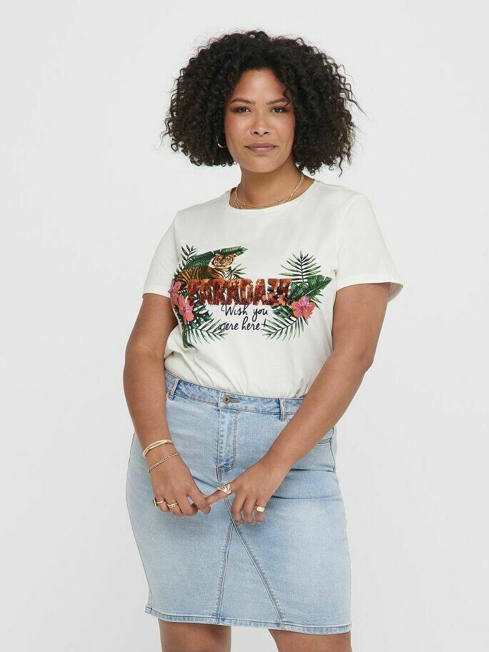 T-shirt med print og pailetter fra Carmakoma.