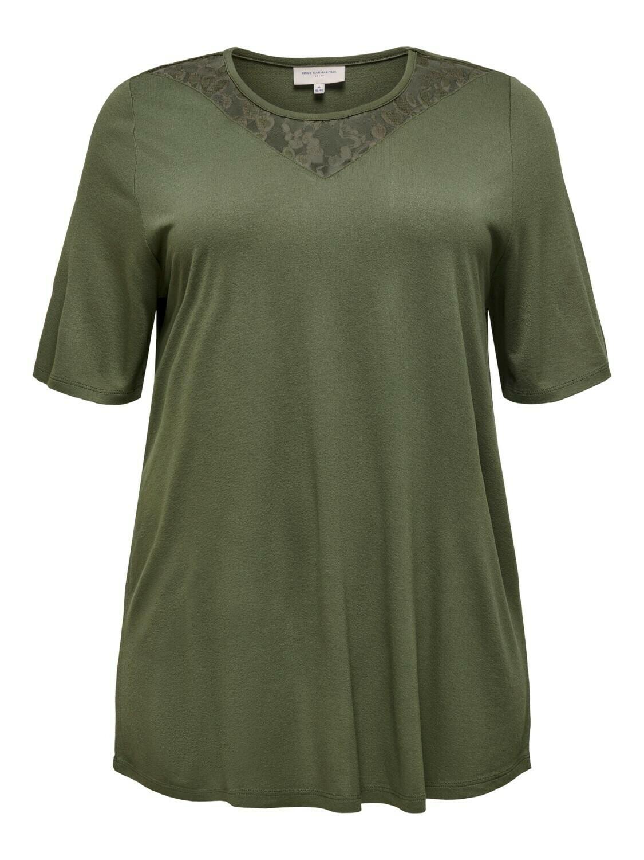 T-shirt med blondedetalje fra Carmakoma.