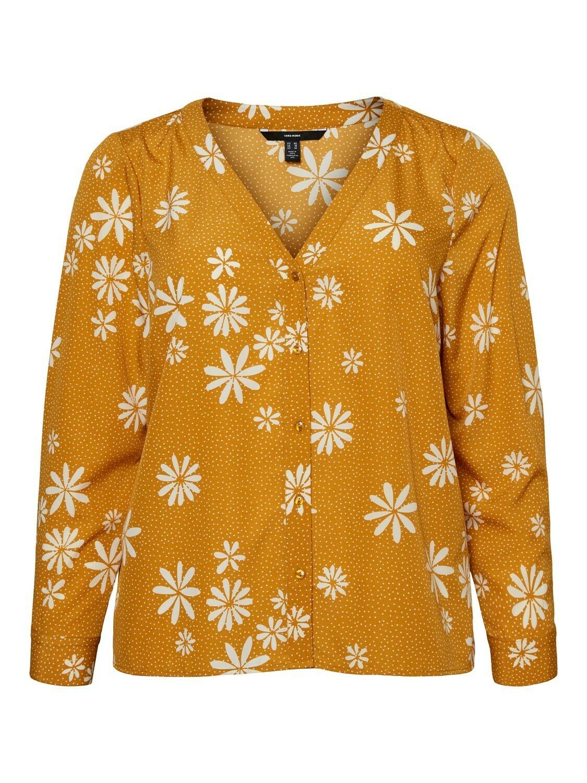 Skjortebluse med margueritter fra Vero Moda Curve!