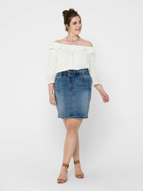 Denim-nederdel med paperbag-talje fra Carmakoma!