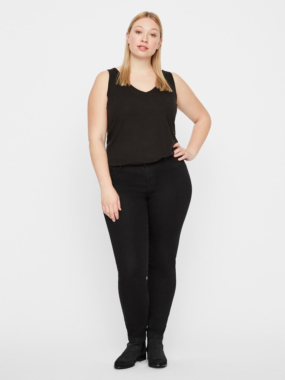 Sorte jeans med mellemhøj talje og smalle ben fra Junarose