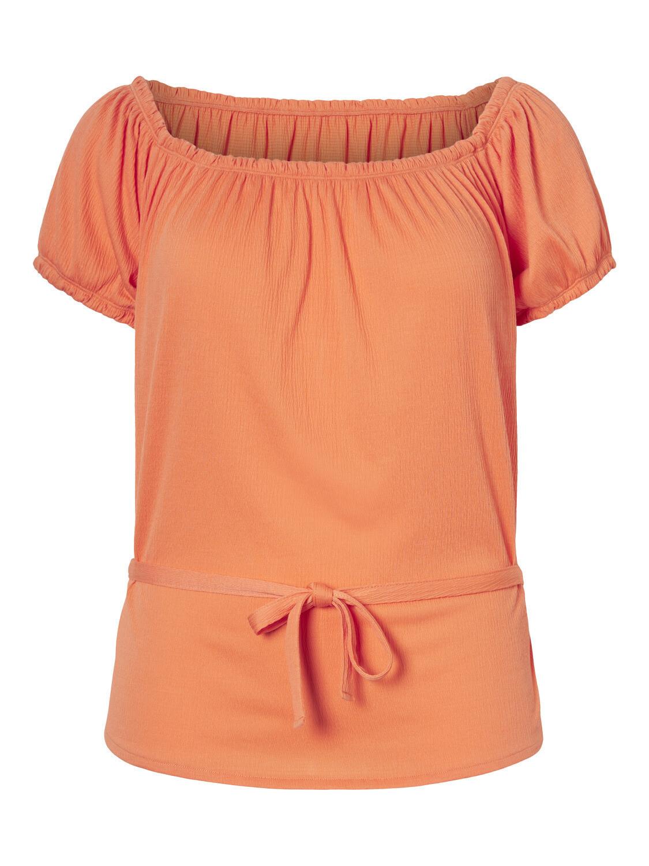 Koralfarvet bluse med bindedetalje fra Vero Moda Curve!
