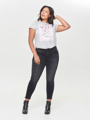 Vaskede sorte jeans i 7/8-længde fra Carmakoma!