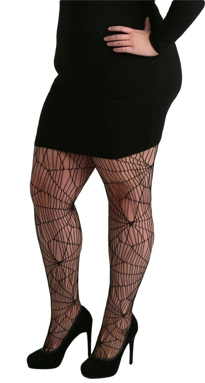 Netstrømpe med spindelvævs-mønster fra Pamela Mann.