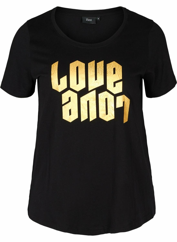 Bomulds t-shirt med guldprint fra Zizzi