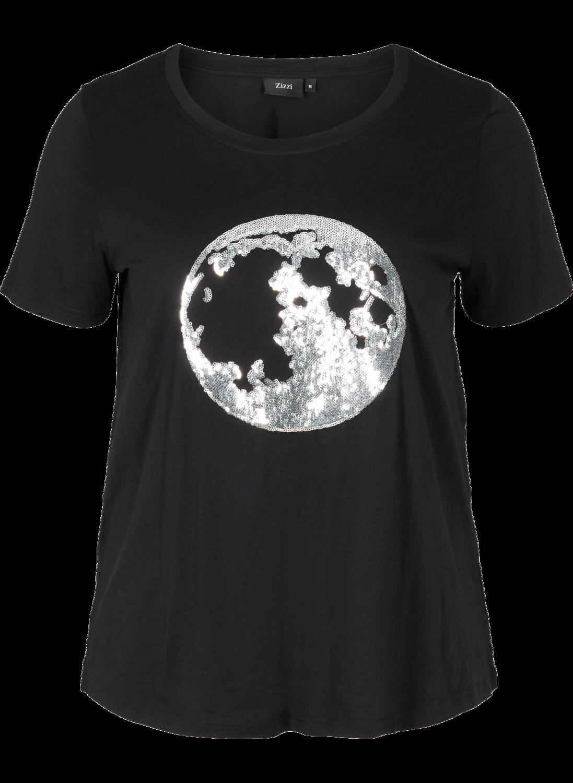 Bomulds t-shirt med sølvpailetter fra Zizzi