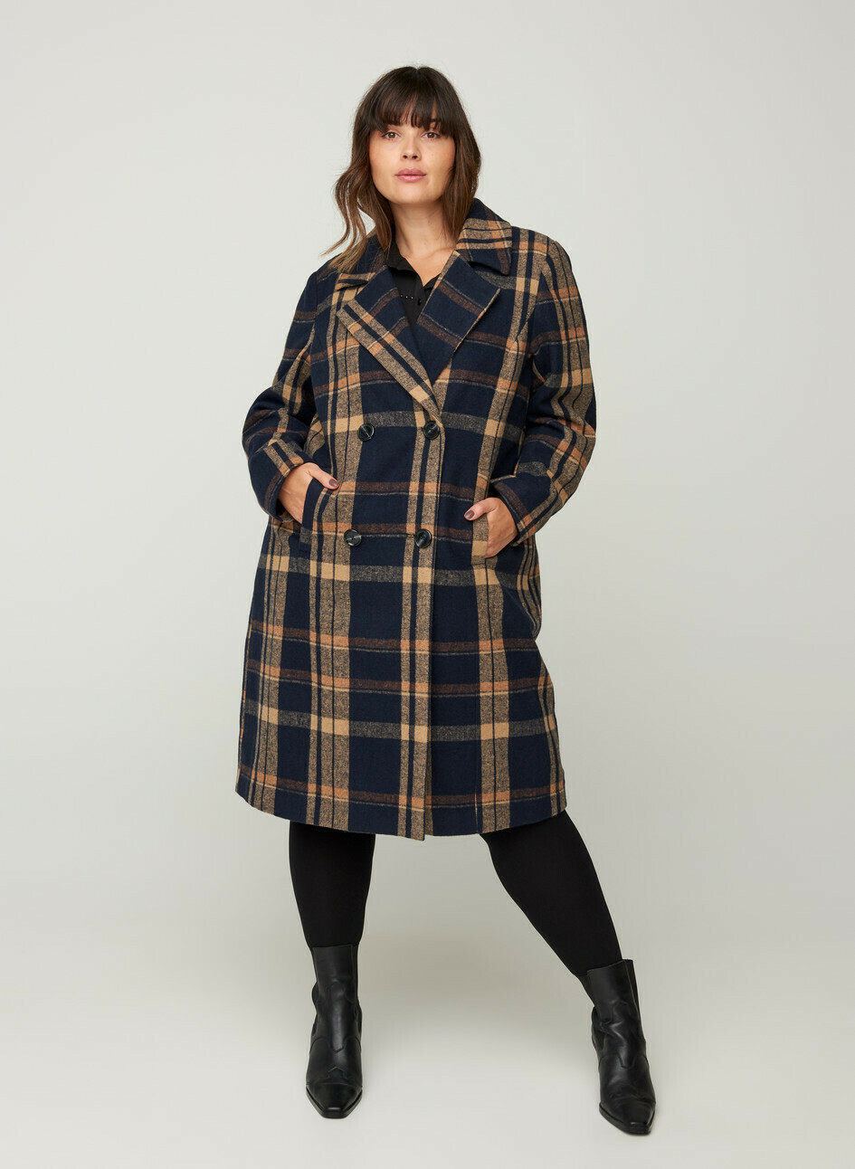 Ternet jakke med uld fra Zizzi