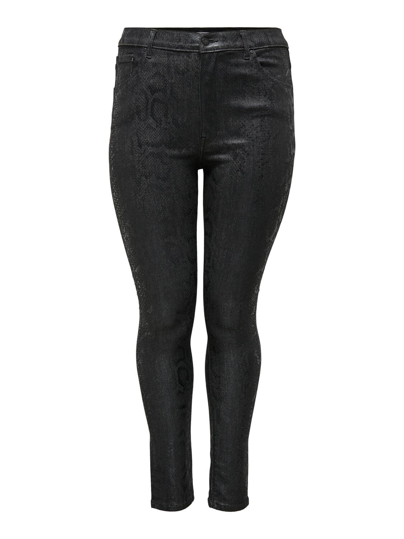 Coatede sorte jeans med snakepræg fra Carmakoma