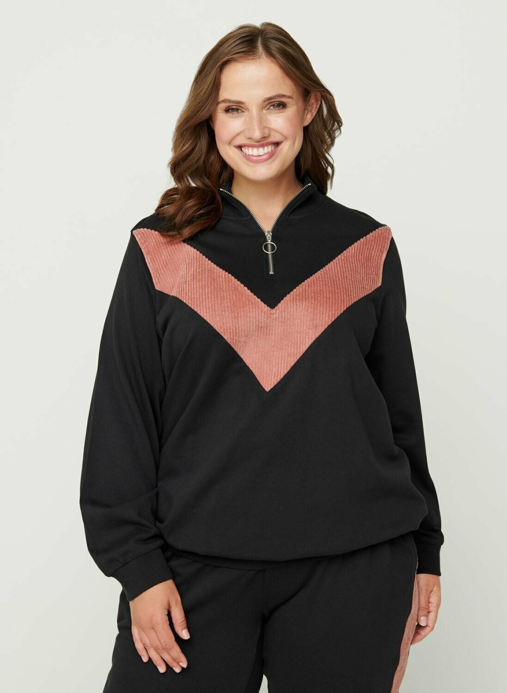 Sweatshirt med lynlås fra Zizzi