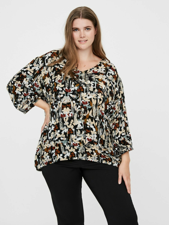 Printet bluse med elastikkant fra Junarose!