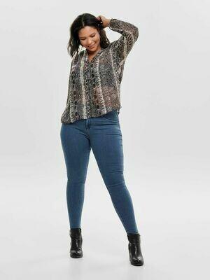 Blå push-up jeans med høj talje og smalle ben fra Carmakoma!