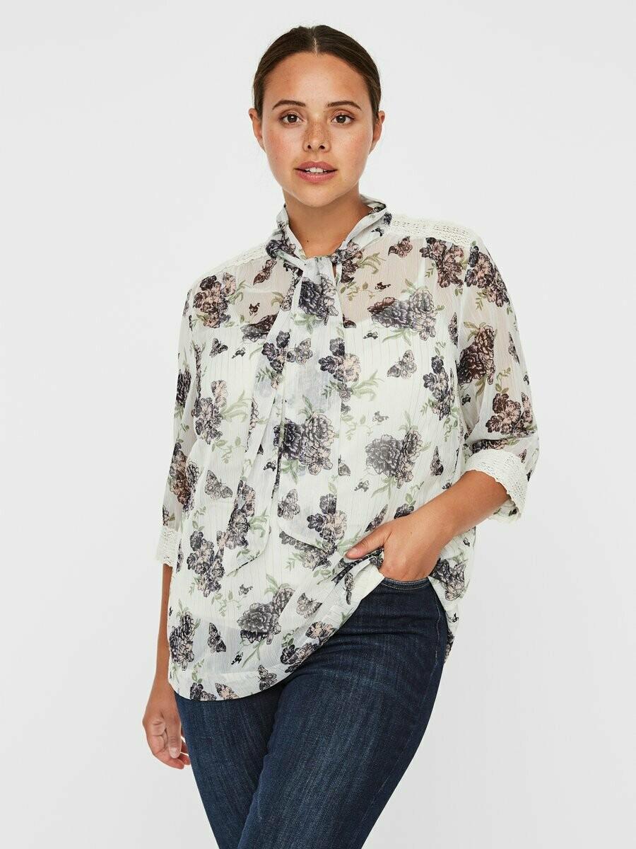 Feminin printet bluse fra Junarose!