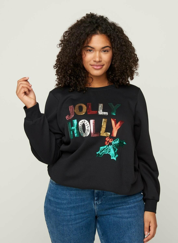 Jule-sweatshirt fra Zizzi
