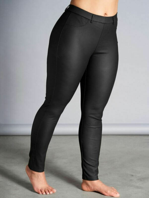 Coated legging i skind-look fra Sandgaard