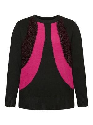 Strik med pink striber og glitter fra Vero Moda Curve!