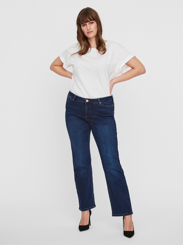 Jeans med høj talje og lige ben fra Junarose!