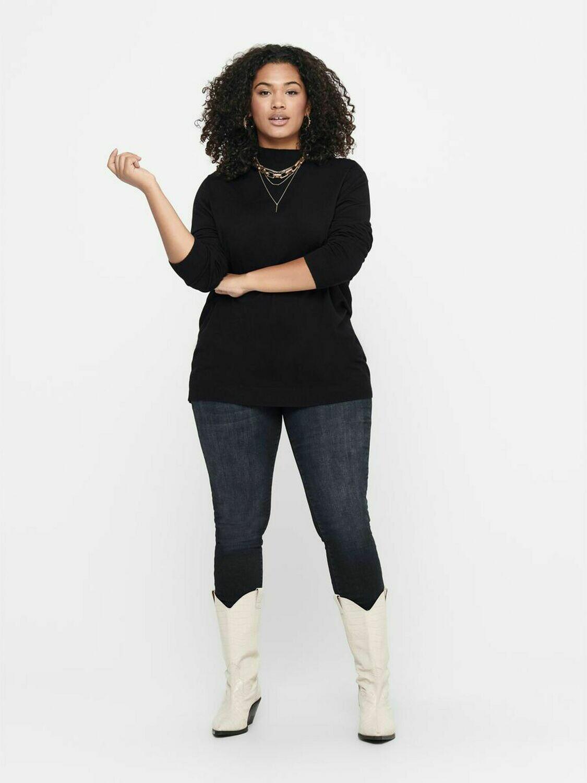 Sort shape jeans med høj talje og smalle ben fra Carmakoma!