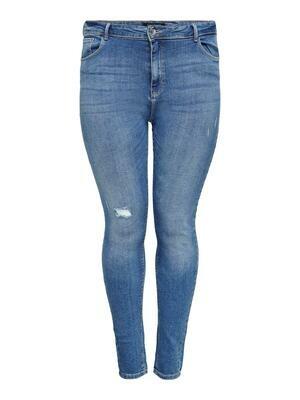 Lys jeans med høj talje og smalle ben fra Carmakoma