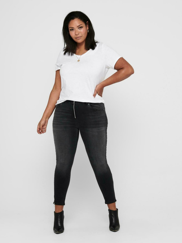 Super smarte mørkegrå  jeans med lynlås-detaljer fra Carmakoma