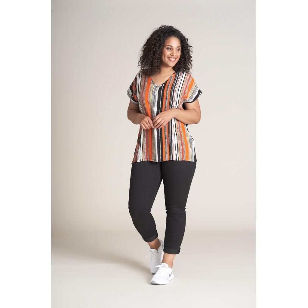 Stribet jersey-bluse fra Studio