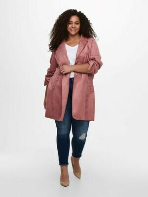 Megafed fake suede jakke fra Carmakoma