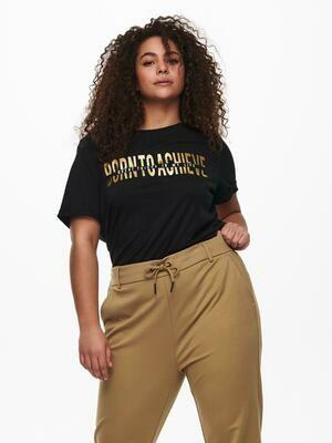 T-shirt med guld print fra Carmakoma