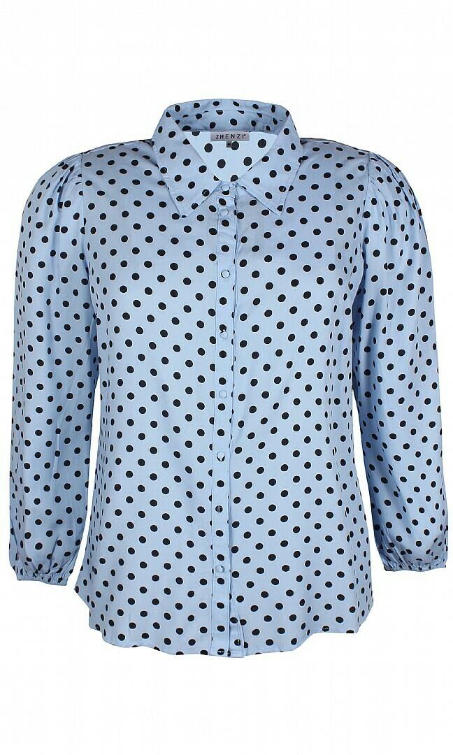 Prikket skjorte med lidt puf i ærmerne fra Zhenzi