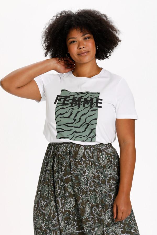 Bomulds t-shirt med frontprint fra Kaffe Curve