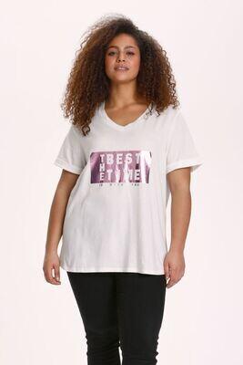 Sød t-shirt med frontprint fra Kaffe Curve