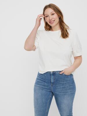Feminin bluse med korte ærmer fra Vero Moda Curve