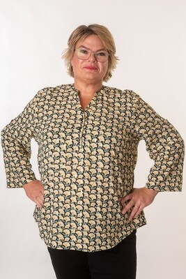 Fin skjorte med blomster og guldprint fra Christy/Paris