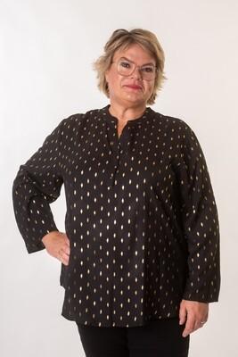 Flot sort skjorte med guldprint fra Christy/Paris