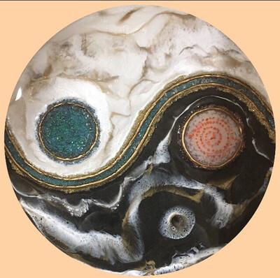 Resin Yin Yang With Crushed Opal
