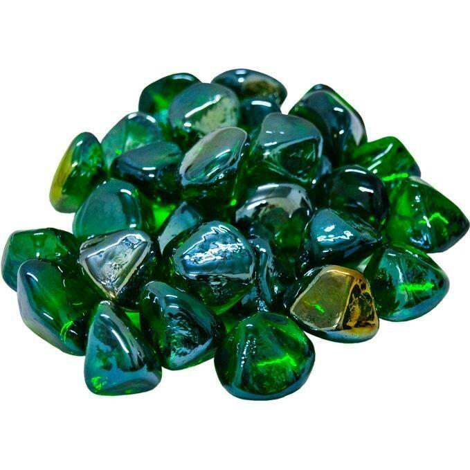 Green Diamonds Fire Glass