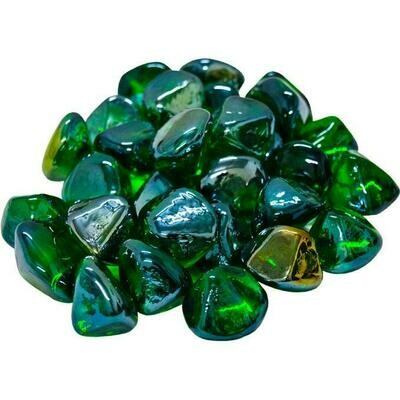 Green Diamonds Fire Glass