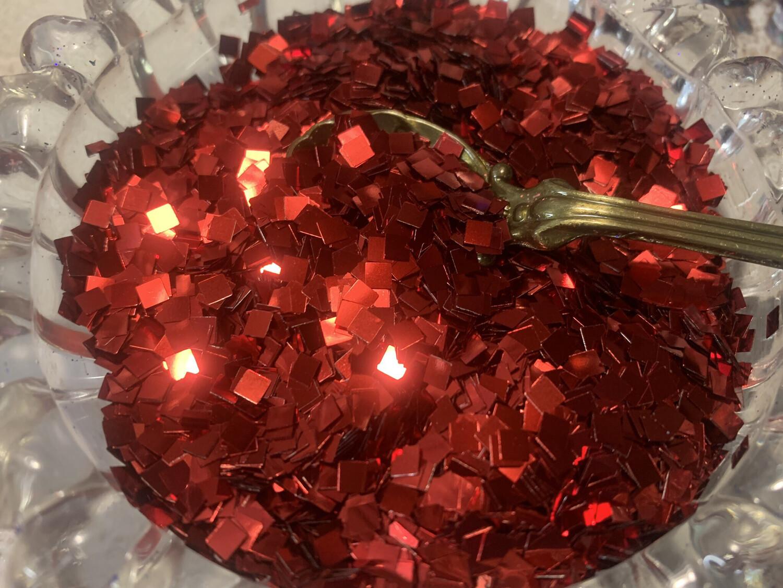 Ruby Red Pixels Glitter