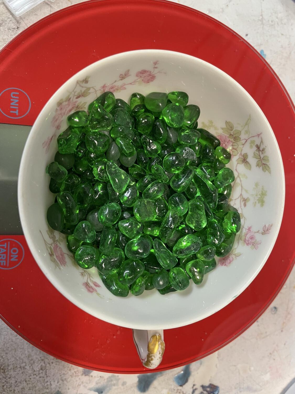 Emerald Green Glass Chubs (pea size) 1/2lb (NEW)