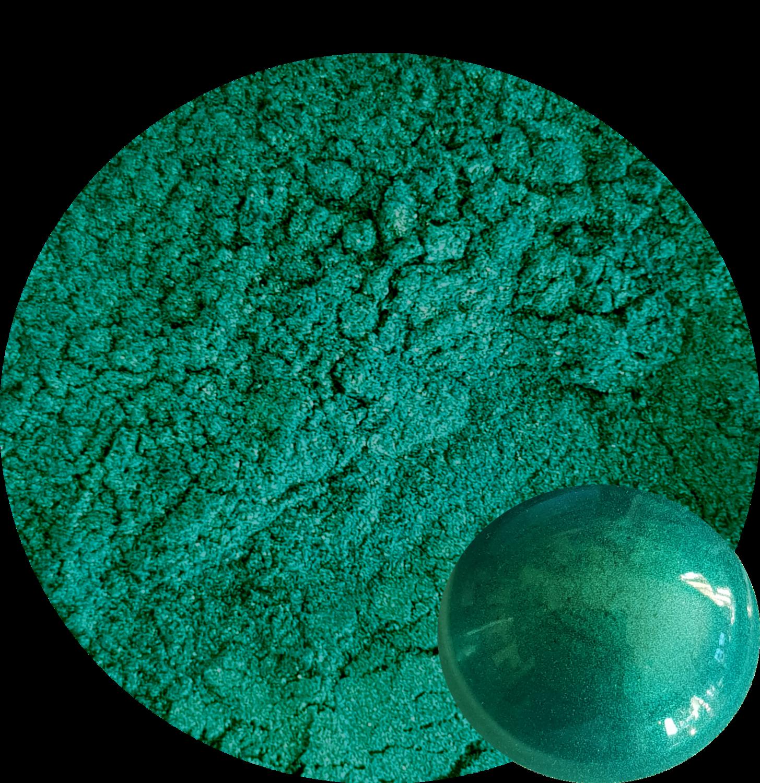 Peacock Green Mica Pigment powder 50ml-Opaque to Semi-Transparent