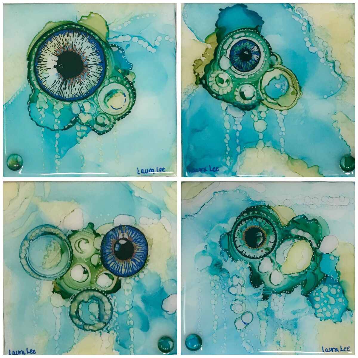 Set of 4 Alcohol ink Coasters/resin (SOLD)