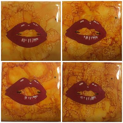 Set of 4 Marilyn Lips Coasters/resin