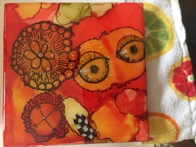 Set of 4 Handpainted Coasters/resin (SOLD)