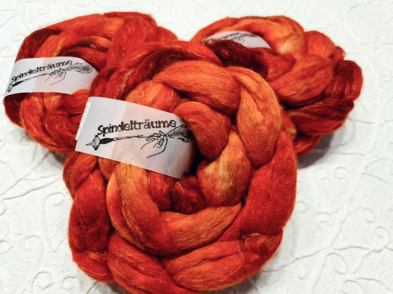 Kammzug handgefärbt Merino,Alpaka,Leinen