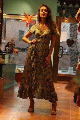 Vestido largo cruzado rayón turquesa